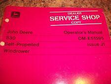 John Deere Operator'S Manual 830 Self-Propelled Windrower