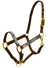 BROWN, TEAL & ORANGE 2 Ply Nylon Western Horse Halter w/ Diamond Design NEW TACK
