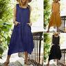 Mode Femme Robe Dress Loisir Quotidien Sans Manche Poches Vancances Maxi Plus