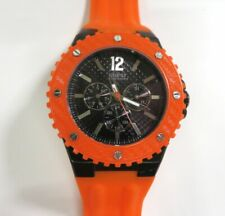 Men's GUESS Stainless Large Orange & Black Watch NEW BATTERY!