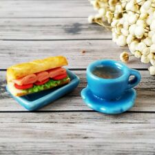 Dollhouse Miniatures Food Bakery Sandwich Breakfast Coffee Tea Cup Set Barbie