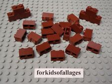 25 Lego 1x2 Bricks with Grill Profile Reddish Brown Castle Wall Car Grille Parts