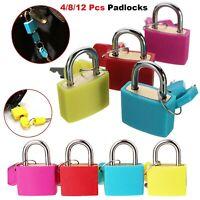 Padlock Brass Lock Security Shackle Travel Luggage Suitcase Bag Keys Set 4/8/12p
