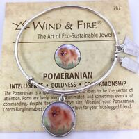 Wind and Fire Dog Pomeranian Bangle Bracelet Russian Silver Expandable