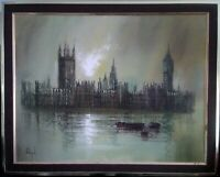 Large Oil On Canvas Signed John Bampfield. Houses Of Parliament From The Thames