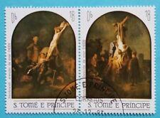 """Sao Tome e Principe: Mi.-Nr. 823-824 """"Gemälde"""" waag. Zdr.-Paar, 1983, gestempelt"""