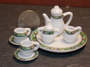 Dollhouse Miniature Tea Set 8p Teapot Plates 1:6 Barbie scale K17 Dollys Gallery