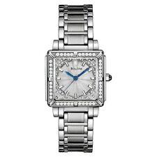 Bulova 96R129 Women's 100 Diamonds Silver Dial Blue Hands Bracelet Wristwatch