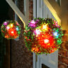Colorful LED Solar Powered Topiary Ball Light Outdoor Garden Hanging Lamp Decor