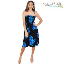 Black & Blue Hibiscus Ladies Tube Dress Floral Hawaiian