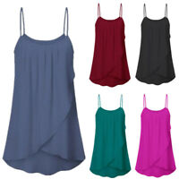 Womens Fashion Casual Solid Sleeveless Chiffon Flowy Tank Tops Camis Plus Size