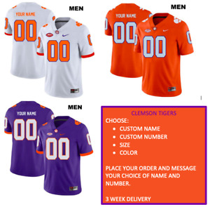 Clemson Tigers Jersey - Choose Name, Number, Color and Size