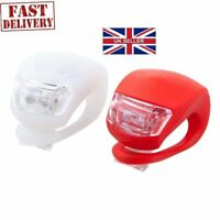 LED SILICONE PUSH CLIP CYCLE LIGHT MOUNTAIN BIKE BICYCLE FRONT REAR LIGHTS SET