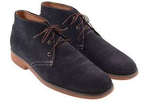 Johnston & Murphy Blue Suede Leather Brick Red Sole Chukka Desert Boots 11 M