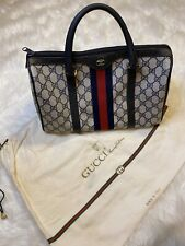 VINTAGE RARE Auth Gucci GG Navy Blue Canvas Leather Boston Speedy Satchel Bag