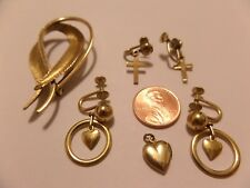 VINTAGE GOLD FILLED LOT WELLS BROOCH PIN & 2 PAIRS EARRINGS HEARTS & CROSSES