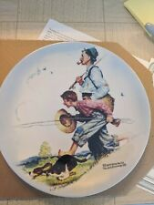 New ListingNorman Rockwell Gone Fishing Collector Plate. Includes certificate!