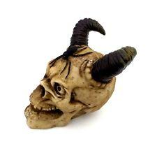 Skull Head Figurine With Horns and Spider Statue Halloween Decor Creepy Skull