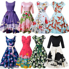 Flamingo/Floral Womens 1950s Vintage Rockabilly Cocktail Party Retro Swing Dress