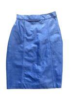 Vintage 80s Leather Mini Pencil Skirt High Waist Cobalt XS 3 2 Via Max Blue