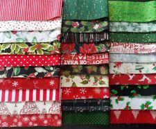 """Assorted Christmas Prints Fabric 30 Pc Jelly Roll 2.5""""x44"""" Fabric Strips Cotton"""
