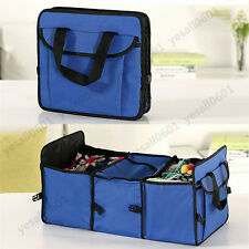 Foldable Multi Bag Collapsible Organizer Box Storage Car Cargo Trunk Blue set