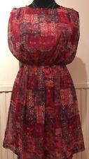 YUKI BOHO HIPPIE CHIC SKATER DRESS SIZE 10 Brand New Multi Coloured Summer Dres