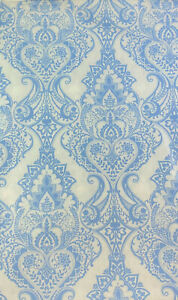 Baroque Medallion Vinyl Tablecloths White and Blue Assorted Sizes