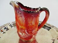 Red Slag Glass Pitcher 6 1/2 Imperial Creamer Windmill 3 D Vintage #C20