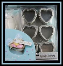 New! Amscan *Silver Metal Heart Tin Specialty Favor Kit* 12 ct Nip #340320