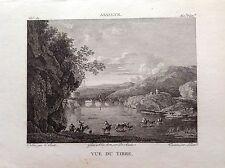 VEDUTA DEL TEVERE Roma Incisione originale XIX secolo ASSELYN fiume