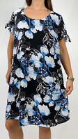 CITY CHIC Blue Black White Floral Print Shift Dress Plus Size XL AU 22  Boho
