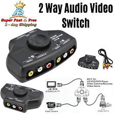 2 Way Audio Video Switch Selector Box Splitter RCA Cable Black For VCD DVD VCAM