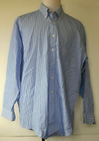 Brooks Brothers Blue Striped Non-Iron Button-Front L/S Dress Shirt 17 1/2 X 35