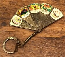 Vintage Rare New Mexico Souvenir Folding Fan Keychain Brass? Metal?