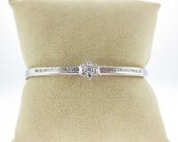 Estate 3/4ct Genuine Diamonds Solid 14k White Gold Flower Bangle Bracelet