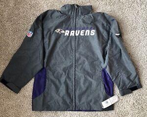 Baltimore Ravens NFL Gray Purple Reebok Full Zip Windbreaker Men's NEW