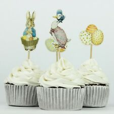 24 X PETER RABBIT CUPCAKE CAKE TOPPER PICKS / BIRTHDAY PARTY FAVOURS BABY SHOWER