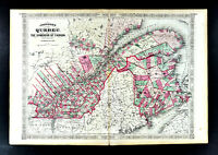 1867 Johnson Map Quebec Montreal New Brunswick St. Lawrence River Canada