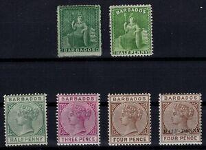 P133365/ BRITISH BARBADOS – 1861 / 1892 UNUSED CLASSIC LOT – CV 160 $