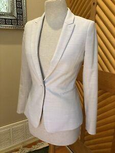 Reiss Wool Blend Light Gray Off White Skirt Suit Women Size 4/6