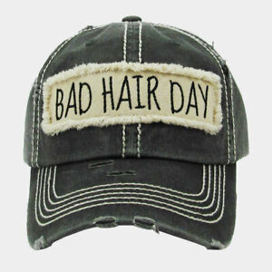 """""""BAD HAIR DAY"""" Embroidered Patch Distressed Vintage Look Cotton Baseball Cap Hat"""