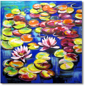 Modern Art Hand Painted Wall Picture Water Lilies Acrylic Painting Art.Nr.1087