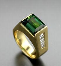 Turmalina Anillo Brillante 6,26 und 1,03 carat, verde 75-amarillo oro (5214)
