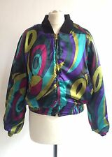Vintage 80s Psychedelic Reversible Bomber Jacket Size 10 12 Disco Glamour