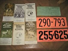 Wisc. Hunting Licenses 1970 & 1972 + Party Permit & Reg Booklets, Vintage