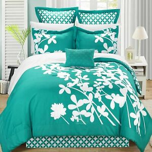 Iris Turquoise & White King 7 Piece Comforter Bed In A Bag Set