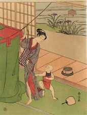 UW»Estampe japonaise courtisane et enfant  Harunobu H51 99 G76