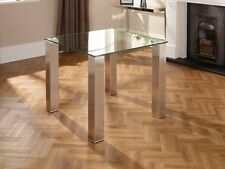 Murcia Dining Table Square 10mm Tempered Glass Top and Stainless Steel Legs