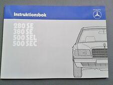 Betriebsanleitung Instruktionsbok W126 280SE 380SE 500SEL 500SEC schwedisch